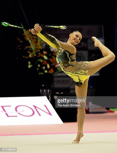 Alina Kabaeva of Russia competes in the Clubs during day one of the Rhythmic Gymnastics Aeon Cup at the Tokyo metropolitan Gymnasium on October 8,...