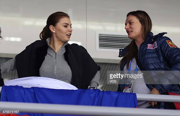Alina Kabaeva Russian Olympic champion in rhythmic gymnastics and Yelena Isinbayeva Russian double Olympic pole vault champion watch the men's...