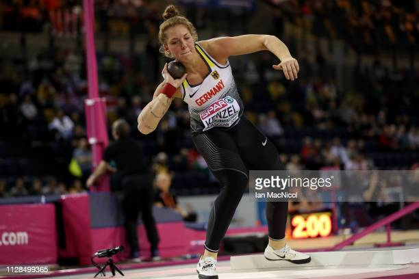 Alina Kenzel of Germany in action during the final of the women's shot put on day three of the 2019 European Athletics Indoor Championships at...