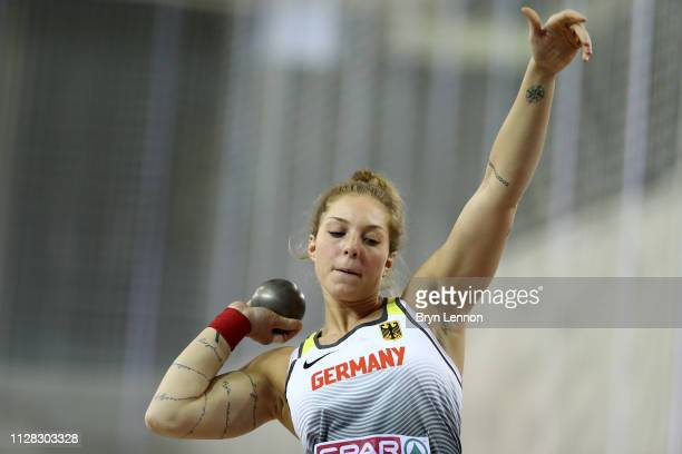 Alina Kenzel of Germany in action during the women's shot put qualifying round on day one of the 2019 European Athletics Indoor Championships at...