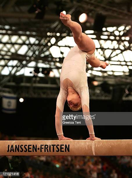 Alina Kozich on the beam during the 2007 European Women Artistic Gymnastics Championships in Amsterdam Netherlands on April 28 2007