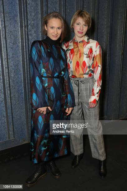 Alina Levshin and Anna Brueggemann attend the Odeeh Defile during the Berlin Fashion Week Autumn/Winter 2019 at Haus Der Berliner Festspiele on...