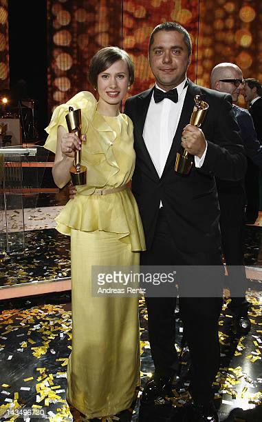 Alina Levshin and David Wnendt pose after the Lola German Film Award 2012 Show at FriedrichstadtPalast on April 27 2012 in Berlin Germany