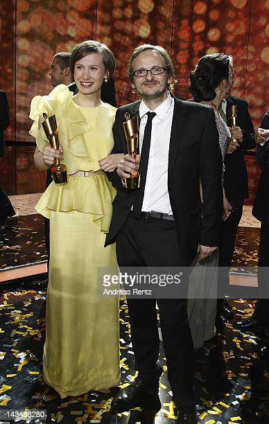 Alina Levshin and Milan Peschel pose with their Awards at the Lola German Film Award 2012 Show at FriedrichstadtPalast on April 27 2012 in Berlin...