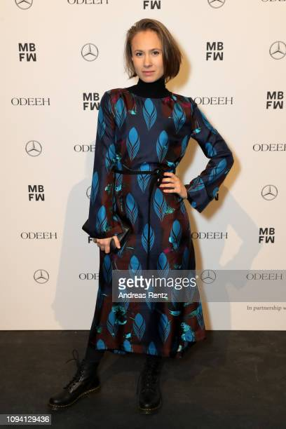 Alina Levshin attends the runway at the Odeeh Defile during the Berlin Fashion Week Autumn/Winter 2019 at Haus Der Berliner Festspiele on January 14...