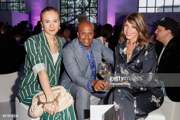 Alina Levshin Mr Chazz and Anna Wolfers during the Happy Size X Michalsky launch event on April 17 2018 in Hamburg Germany
