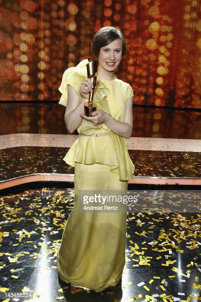 Alina Levshin poses with the Award as 'Best Actress' at the Lola German Film Award 2012 Show at FriedrichstadtPalast on April 27 2012 in Berlin...