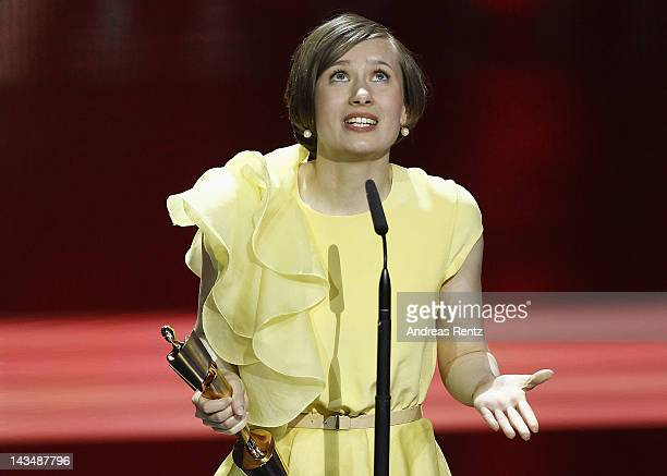 Alina Levshin speaks onstage after receiving the Award as 'Best Actress' at the Lola German Film Award 2012 Show at FriedrichstadtPalast on April 27...