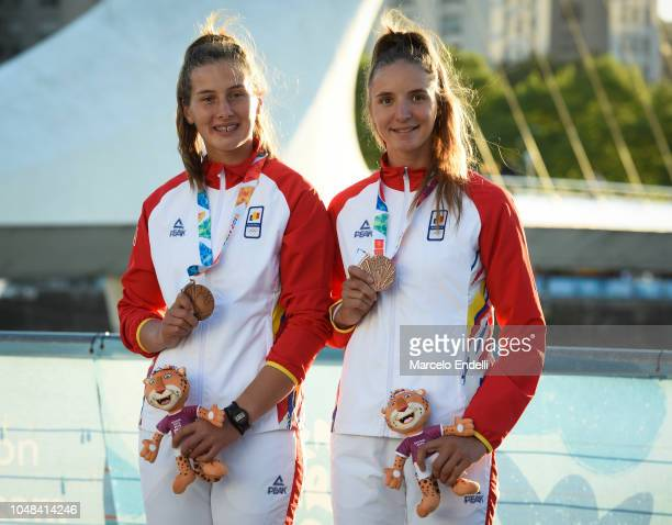 Alina Maria Baletchi and Tabita Maftei of Romania show their Bronze medals after the Rowing Junior Women`s Pair Final A during day 3 of Buenos Aires...