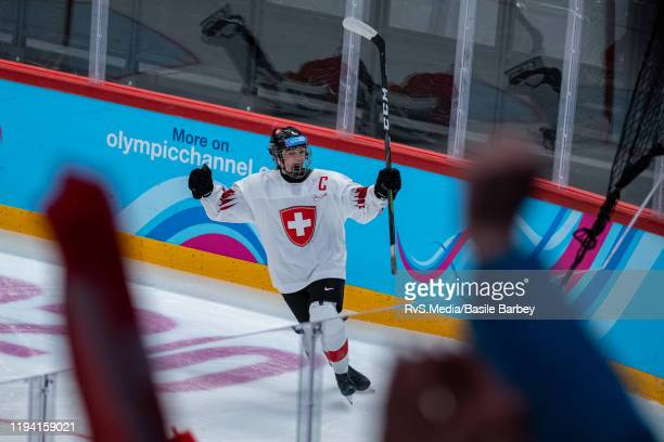 Alina Marti of Switzerland clebrates her winning shoot-out goal during the Women's 6-Team Tournament Preliminary Round - Group B Game between Czech...