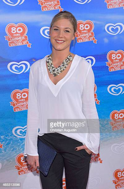 Alina Merkau attends the Langnese 80th Anniversary Celebration at Beach Centre Wandsbek on March 5 2015 in Hamburg Germany
