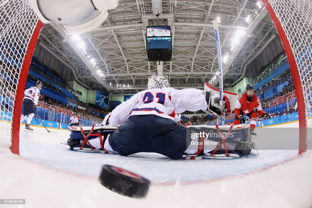 Alina Muller #25 of Switzerland scores a goal against So Jung Shin #31 of Korea in the first period during the Women's Ice Hockey Preliminary Round - Group B game on day one of the PyeongChang 2018 Winter Olympic Games at Kwandong Hockey Centre on February 10, 2018 in Gangneung, South Korea.