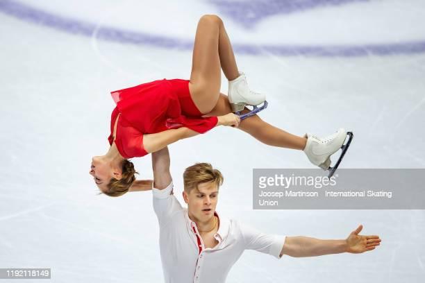 Alina Pepeleva and Roman Pleshkov of Russia compete in the Junior Pairs Short Program during the ISU Grand Prix of Figure Skating Final at Palavela...