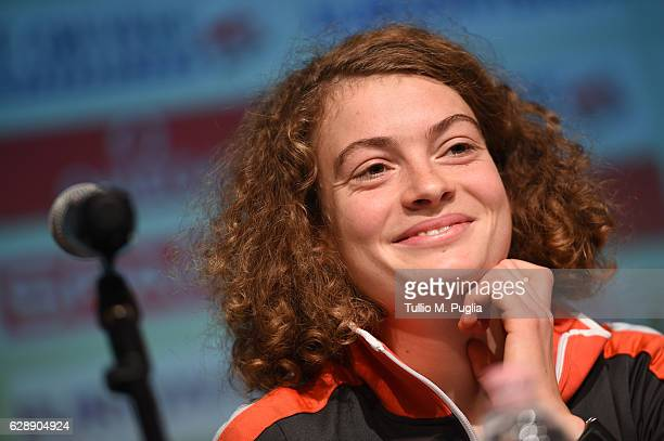 Alina Reh of Germany attends a press conference during the SPAR European Cross Country Championships Chia 2016 on December 9 2016 in Chia Italy