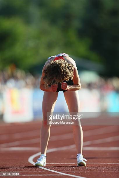 Alina Reh of Germany celebrates winning the WomenÕs 5000m final at Ekangen Arena on July 19 2015 in Eskilstuna Sweden