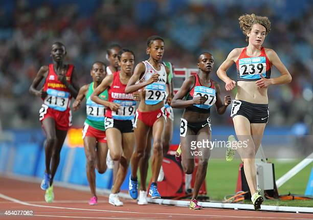 Alina Reh of Germany competes in the Women's 3000m Final on day eight of the Nanjing 2014 Summer Youth Olympic Games at Nanjing OSC Stadium on August...