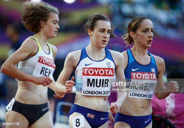 Alina Reh of Germany Laura Muir of Great Britain and Shannon Rowbury of United States compete in the womens 5000 metres heats during day seven of the...