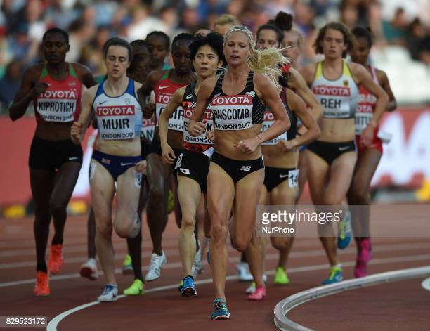 Alina Reh of Germany Laura Muir of Great Britain compete in the womens 5000 metres heats during day seven of the 16th IAAF World Athletics...