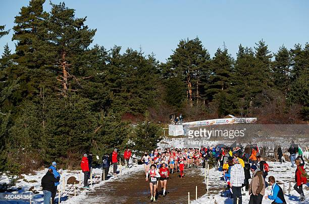 Alina Reh of Germany leads the Junior Women's Race during the European CrossCountry Championships on December 14 2014 in Samokov Bulgaria