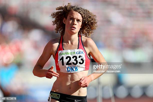 Alina Reh of TSV Erbach competes in the 5000 metres finale during day 2 of the German Championships in Athletics at Grundig Stadium on July 24 2015...