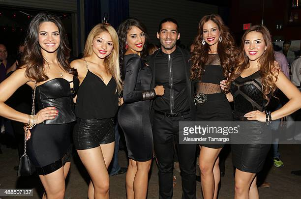 Alina Robert Josefine Ochoa Nabila Tapia Jason Canela Aleyda Ortiz and Aly Villegas are seen backstage at the Jencarlos Canela private concert to...