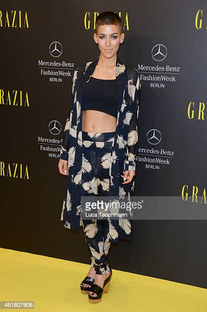 Alina Süggeler arrives for the Opening Night by Grazia fashion show during the MercedesBenz Fashion Week Spring/Summer 2015 at Erika Hess Eisstadion...