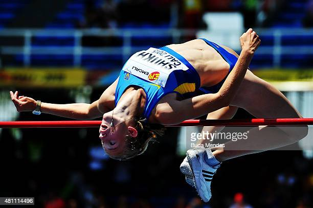 Alina Shukh of the Ukraine in action during the High Jump Heptathlon Girls on day three of the IAAF World Youth Championships Cali 2015 on July 17...