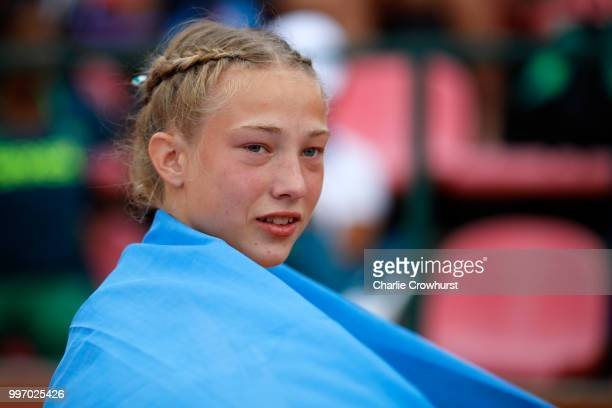 Alina Shukh of Ukraine celebrates winning gold in the women's javelin throw on day two of The IAAF World U20 Championships on July 11 2018 in Tampere...
