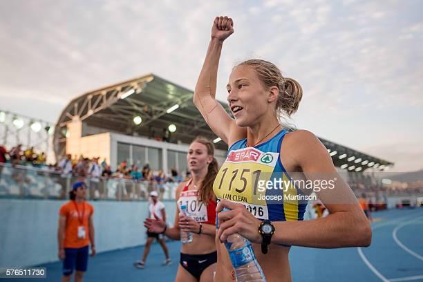 Alina Shukh of Ukraine celebrates winning the Girls Heptathlon during European Athletics Youth Championships on July 15 2016 in Tbilisi Georgia