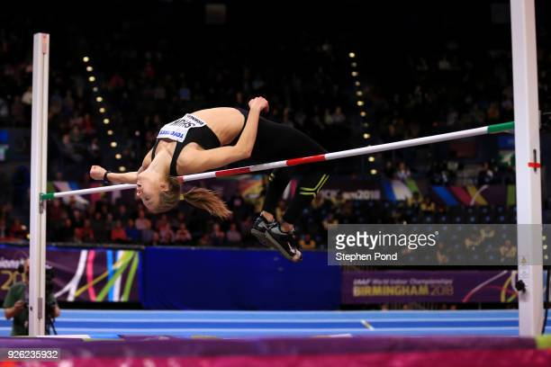 Alina Shukh of Ukraine competes in the High Jump Womens Pentathlon during the IAAF World Indoor Championships on Day Two at Arena Birmingham on March...
