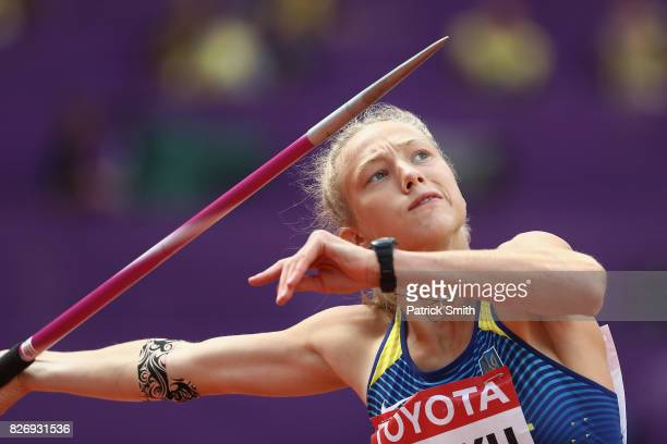 Alina Shukh of Ukraine competes in the Women's Heptathlon Javelin during day three of the 16th IAAF World Athletics Championships London 2017 at The...
