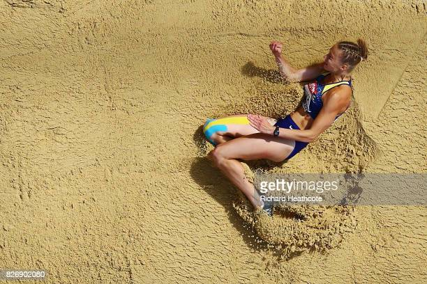 Alina Shukh of Ukraine competes in the Women's Heptathlon Long Jump during day three of the 16th IAAF World Athletics Championships London 2017 at...