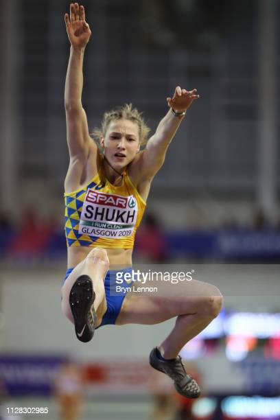Alina Shukh of Ukraine in action during the long jump in the women's pentathlon on day one of the 2019 European Athletics Indoor Championships at...