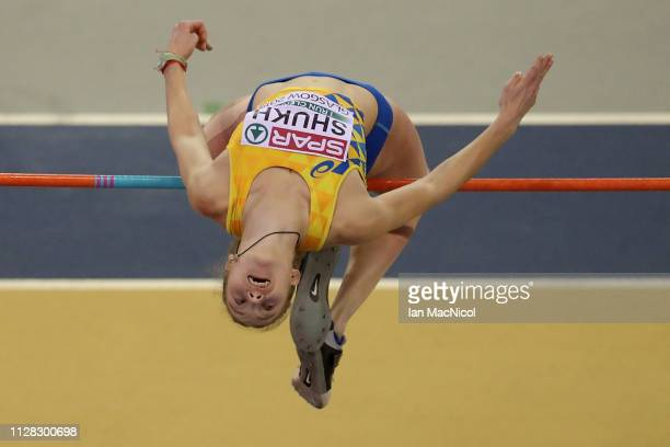 Alina Shukh of Ukraine in action during the women's pentathlon high jump on day one of the 2019 European Athletics Indoor Championships at Emirates...