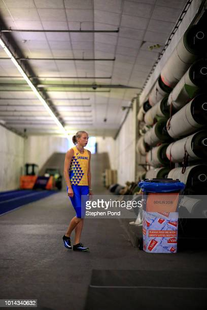 Alina Shukh of Ukraine on the warm up track before competing in the Women's Heptathlon 200m during day three of the 24th European Athletics...