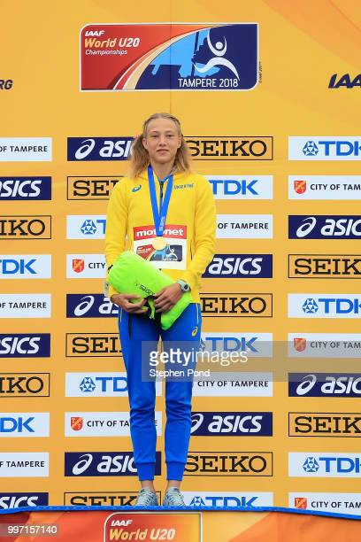 Alina Shukh of Ukraine poses with her gold medal during the medal ceremony for the final of the women's javelin on day three of The IAAF World U20...