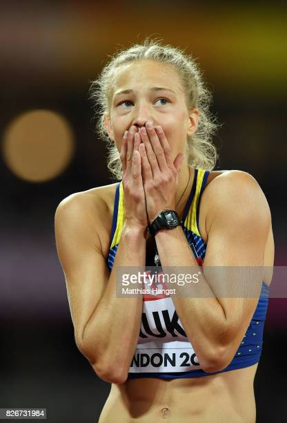 Alina Shukh of Ukraine reacts following the competes in the Women's Heptathlon 200 metres during day two of the 16th IAAF World Athletics...