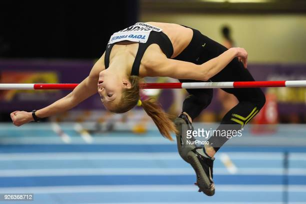 Alina Shukh ofUkraine at high jump Pentathlon at World indoor Athletics Championship 2018 Birmingham England on March 2 2018