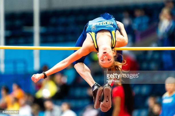 Alina ShukhUkraine at high jump under Pentathlon for women at European athletics indoor championships in Belgrade 3 march 2017