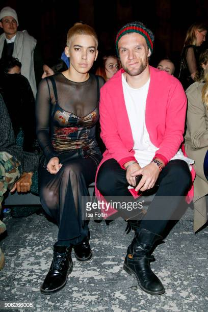 Alina Sueggeler and Andi Weizel alias Frida Gold during the Fashion HAB show presented by MercedesBenz at Halle am Berghain on January 17 2018 in...