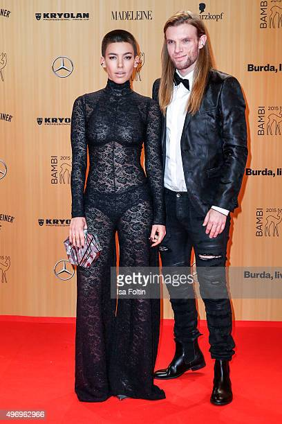 Alina Sueggeler and Andi Weizel attend the Kryolan At Bambi Awards 2015 Red Carpet Arrivals on November 12 2015 in Berlin Germany