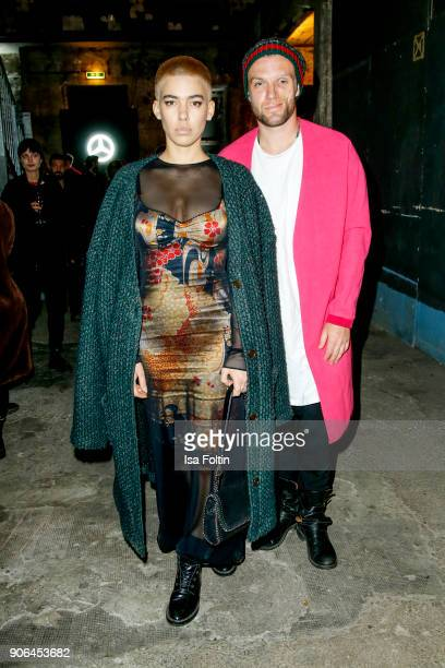 Alina Sueggeler and Andi Weizel of Frida Gold during the Fashion HAB show presented by MercedesBenz at Halle am Berghain on January 17 2018 in Berlin...