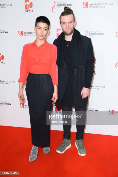 Alina Sueggeler and Andi Weizel of the band Frida Gold attend the 9th GEMA Musikautorenpreis at Ritz Carlton Hotel on March 30 2017 in Berlin Germany