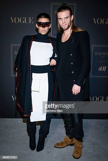 Alina Sueggeler and Andi Weizel of the band Frida Gold attend the BALMAIN x HM Berlin Launch Party on November 4 2015 in Berlin Germany