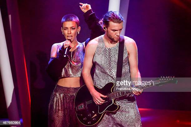 Alina Sueggeler and Andreas Weizel of the band Frida Gold perform at the Echo Award 2015 show on March 26 2015 in Berlin Germany