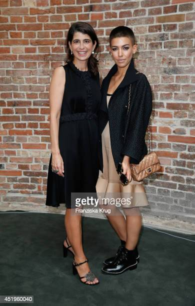 Alina Sueggeler and Dorothee Schumacher attend the Schumacher show during the MercedesBenz Fashion Week Spring/Summer 2015 at Sankt Elisabeth Kirche...