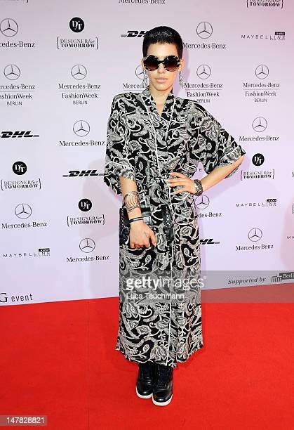 Alina Sueggeler arrives for the Dawid Tomaszewski Show during the MercedesBenz Fashion Week Spring/Summer 2013 on July 4 2012 in Berlin Germany