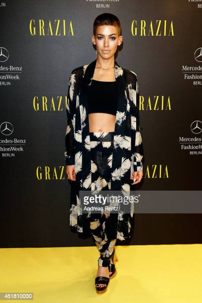 Alina Sueggeler arrives for the Opening Night by Grazia fashion show during the MercedesBenz Fashion Week Spring/Summer 2015 at Erika Hess Eisstadion...