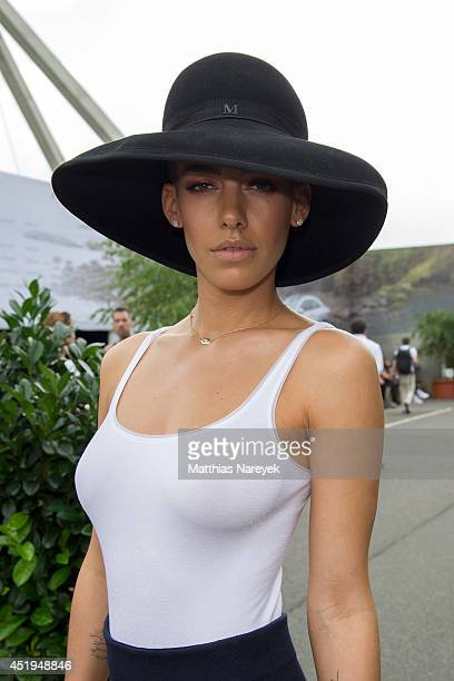 Alina Sueggeler attends the Marcel Ostertag show during the MercedesBenz Fashion Week Spring/Summer 2015 at Erika Hess Eisstadion on July 9 2014 in...