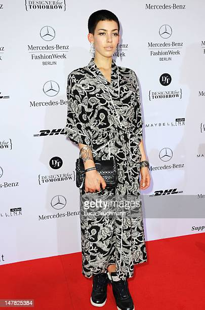 Alina Sueggeler of German band 'Frieda Gold' arrives for the Designer For Tomorrow Show during the MercedesBenz Fashion Week Spring/Summer 2013 on...